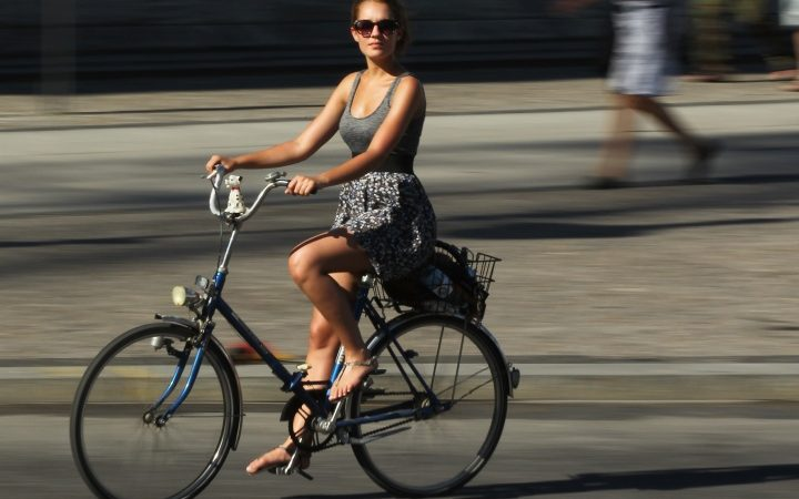 Cycling in a Skirt and Heels